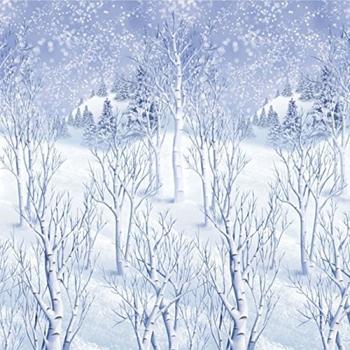 Giant Frozen Tree Scene Setter Christmas Room Roll 40 Feet Long Winter Wonderland Snowy Snow Frost Room Party Decorating Kit 1.2m x 12.2m by Amscan