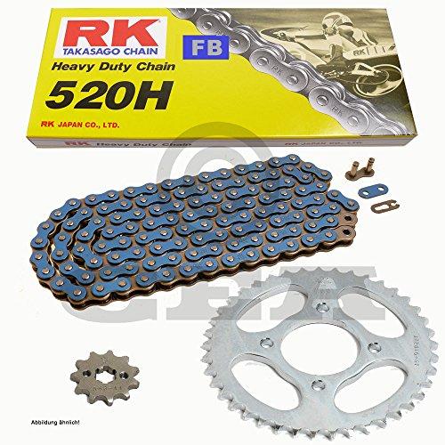 Chaîne de Kawasaki KLR 250 D 84–92, chaîne RK Fb 520 H 104, ouvert, bleu, 15/44