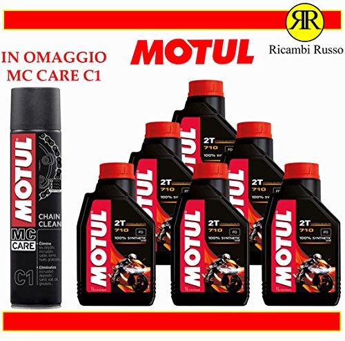 Motul 710 2T olio motore moto 2 tempi litri 6 + OMAGGIO MC Care C1 Ch