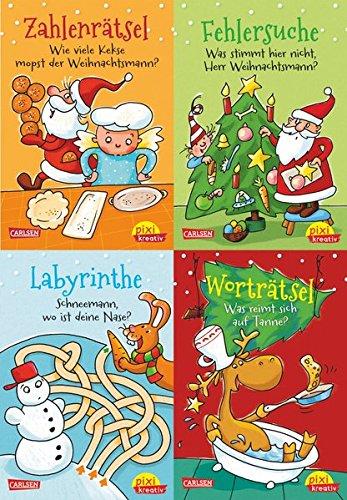 Lustige Weihnachtsrätsel (4x1 Exemplar): Fröhliche Weihnachten mit Spiel, Spaß und Rätseln (Pixi kreativ 4er-Set, Band 18)