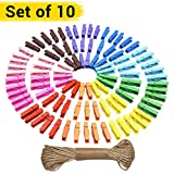 #9: Tied Ribbons 10 Pcs Multicolor wooden pegs clips for Photo Paper craft photographs with Rope