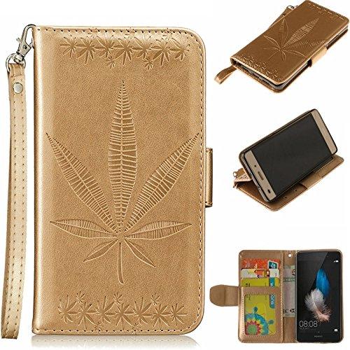 YHUISEN Huawei P8 Lite Case, geprägtes Ahornblatt Design PU Leder Flip Wallet Stand Case mit Card Slot für Huawei P8 Lite ( Color : Gray ) Gold