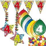 Carpeta 54-Teiliges Partydeko Set * Zahl 4 * für Kindergeburtstag Oder 4. Geburtstag mit Girlande, Rotorspiralen, Luftschlangen und Vielen Luftballons