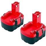 Moticett 2X 14.4V 3.0Ah de Remplacement pour Bosch Batterie Ni-MH BAT038 BAT040 BAT041 BAT140 BAT159 2607335685…