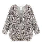 Meihuida - Blazer corto per donne e ragazze, in finta pelliccia sottile e morbida, utile come cardigan o scialle, misure da 38 a 44 Grey 42 / L