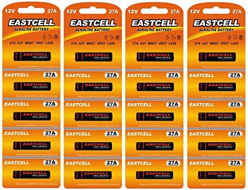 EASTCELL 20 x 27A quecksilberfreie Alkaline 12V Batterie (4 Blistercards a 5 Batterien) MN27, A27, V27GA, L828, GP27A EINWEG Markenware FBA