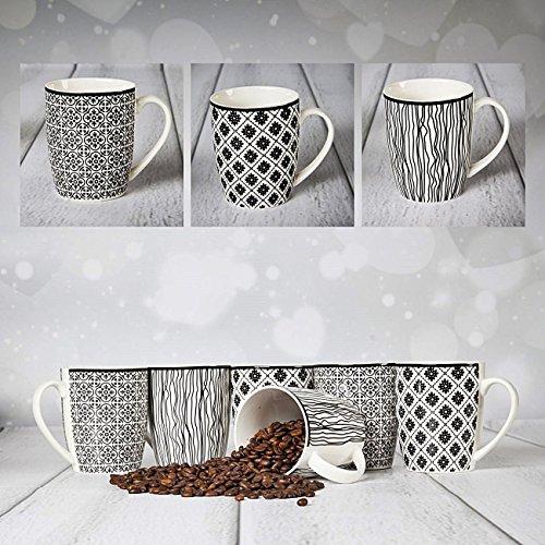 6 XXL Kaffeebecher Set Keramik 400ml in Schwarz/Weiß Design für Ihr liebstes Heißgetränk für...