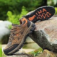 QLX Zapatos de Pareja, Zapatos de Senderismo de Cuero de Verano, Zapatos Deportivos de Gran Tamaño,Caqui,44