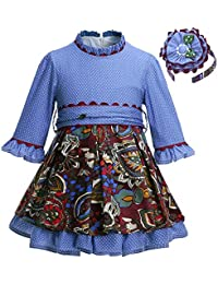 Ju petitpop Lajinirr Niñas Blue Polka Dot Stitching Vestido de Cintura Alta con Diadema
