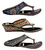 Thari Choice Rajasthani Embroidered Sandal (Pack of 3)