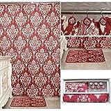 uomere rot floral 14PC Luxus Badezimmer Zubehör Set Stoff Duschvorhang und Haken Matte