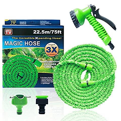 Garden Water Hose Spray Nozzle – Mingtong Expandable Hose Adjustable Nozzle Spray Heavy Duty Spray Gun High Pressure Hose Trigger with 7 Way Spray Pattern and Hose Connector for Lawn, Cleaning, Car Wash, Watering Plants, Showering Pets