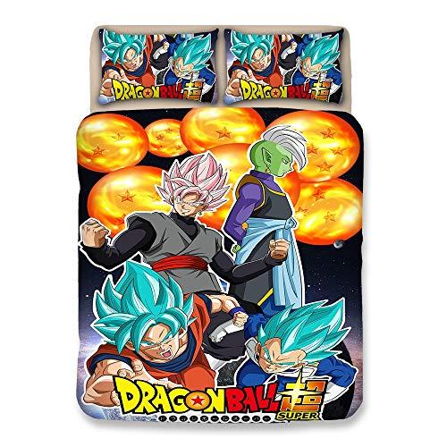 twäsche Bettbezug-Sets Teenager Volles Bett Dragonball Z Goku Drucken Tröster-Cover-Set mit 2 Pillow Shams 1 Bettbezug-Sets zum Jungen Mädchen mit Reißverschluss,King ()