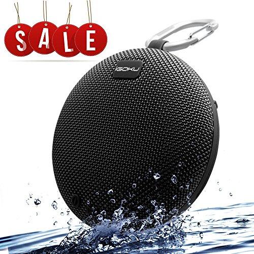 Bluetooth Lautsprecher, iGOKU SoundCore Tragbare Mini Speaker Bluetooth drahtloser lautsprecher Wasserdicht Subwoofer mit eingebautem Mikrofon, SD-Slot, idealer Box für Dusche und Outdoor (Schwarz)