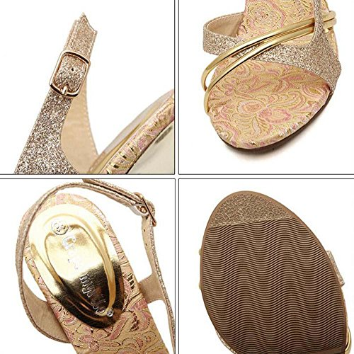 Onfly Pumpe Scarpin Sandalen Damen Charmant Gold gefärbt Offener Zeh High Heel Hohl Slingback Stilett Abendschuhe Hochzeit Schuhe Eu Größe 34-39 Gold