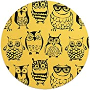 Loud Universe Nerdy Bunch of Owls Mouse Pad, Yellow - 9.25 x 7.6 inch