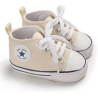 Babycute - Scarpe in tela per neonati e bambini molto piccoli che cominciano a camminare, soletta morbida, con lacci…