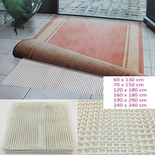 Teppichgleitschutz in Weiß / Beige rutschhemmende Teppichunterlage waschbar Teppichstop Fußbodenheizung geeignet Maße wählbar, Größe:60 x 130 cm