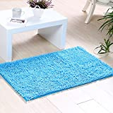 ele ELEOPTION Soft Shag Bath Mat Rug Kitchen Rug Door Way Feet Mat Anti-slip Strip Absorbent Doormat Bathroom Shower Rugs Shaggy Carpet (45 * 70 CM) (Blue)