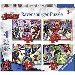 Ravensburger Marvel Avengers 4 en una Caja (12, 16, 20, 24 Piezas) Puzzles de Sierra