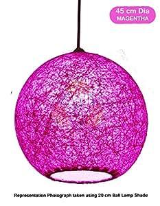 Salebrations 45 cm Dia Magentha Hanging Ball Lamp Shade With Yarn And Led Bulb