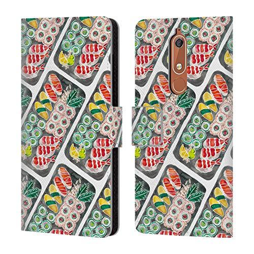 Head Case Designs Offizielle Cat Coquillette Schwarz Sushi Muster Essen Brieftasche Handyhülle aus Leder für Nokia 5.1