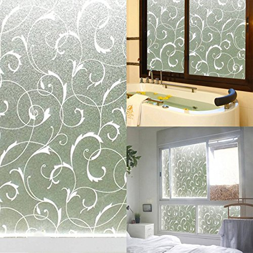 King do way 45x100cm frosted glass sticker decorative window film privacy floral pattern static