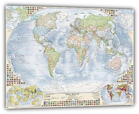 Aktuelle Politische Weltkarte mit 4 Nebenkarten, deutsch, 100 x 70 cm, Aktuell: Stand 2015