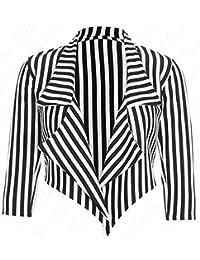 Crazy Girls Womens Cropped Waterfall Blazer Jacket Coat Stripe Open Cardigan Top