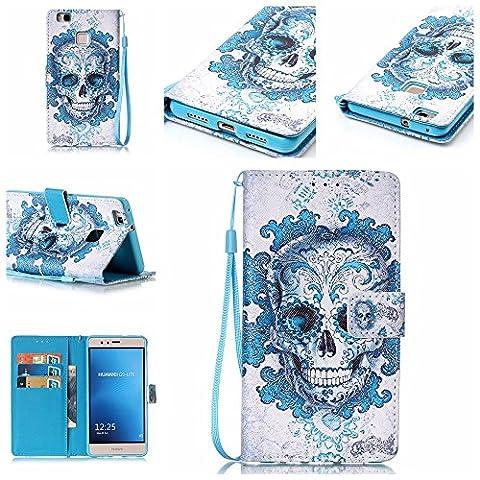 Coque Huawei P9 Lite, Meet de pour Huawei P9 Lite Folio Case ,Wallet flip étui en cuir / Pouch / Case / Holster / Wallet / Case, Huawei P9 Lite PU Housse / en cuir Wallet Style de couverture de cas Coque pour téléphone portable Étui Porte-monnaie en cuir étui de téléphone pour Huawei P9 Lite - blue Skull