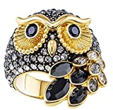 Swarovski March Ring Eule, schwarz, gelbgold vergoldet 55