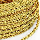 10 Mt Cavo elettrico Treccia Trecciato stile vintage rivestito in tessuto colorato Filato Oro sezione 3x0,75 per lampadari, lampade, abat jour, design. Made in Italy