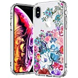 IPhone X Case, IPhone 10 Case, MOSNOVO Floral Flower Garden Pattern Printed Clear Design Transparent Plastic Hard Back Case With TPU Bumper Protective Case Cover For IPhone X/iPhone 10