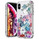 MOSNOVO Coque iPhone XS/Coque iPhone X, Jardin Floral Flower Fleur Clair Design Motif...