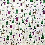 Baoblaze Weihnachten Muster Baumwolle Bunte Baumwollstoff