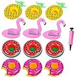 JYOHEY Aufblasbarer Getränkehalter Flamingos Ananas Wassermelone Krapfen Getränkehalter Pool Aufblasbare Poolbar Getränkehalter Wasser Für Pool-Party 12 Stück