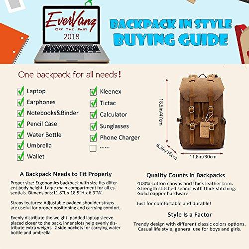 913945d5abec0 Evervanz Canvas Leder Rucksack Reise Wandern Outdoorrucksack Daypacks Für  15 Zoll Laptop Großer Rucksack Für Schule