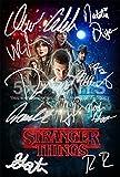 Poster con i protagonisti della serie TV Stranger things (30,5 x 20,3 cm), con autografi stampati del cast, perfetto da collezione