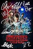 Póster de Stranger Things con autógrafos preimpresos de los 11 actores (30,5 x 20,3cm)