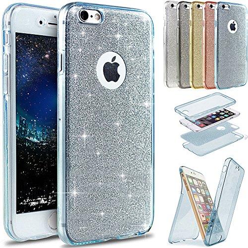 Coque iPhone 7 Plus, Étui iPhone 7 Plus, iPhone 7 Plus Case, ikasus® Coque iPhone 7 Plus Étui de protection complet avant + arrière 360 degrés Étui en silicone souple Bling Pétillant Brillant Briller  Bleu