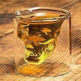 HwaGui Totenkopf Whisky Gläser (Doppelwandig, Isoliert, Mundgeblasen, 0,1 liters) Transparent Schnapsglas Schädel für Whisky Vodka Bier