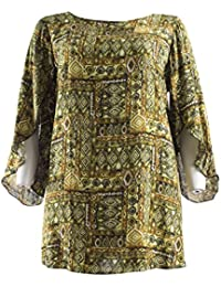 91d9bcfbef5 Emily New Ladies Green Aztec Print Split Sleeve Plus Size Tunic Top