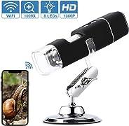Digitale USB-Microscoop, 1080P WiFi Draagbare Endoscoop 50X-1000X Met 8 LED-Endoscoop, Metalen Standaard, Compatibel Met And