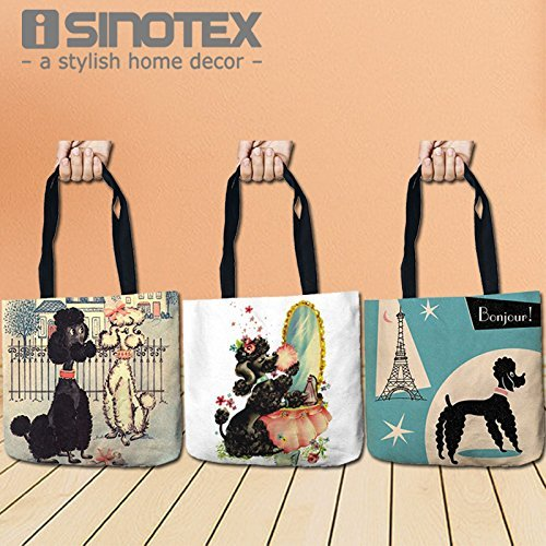 Hunde Pudel Lagerung Taschen Fashion Bedruckte Einkaufstasche Leinen Beutel für Lebensmittel Bequemlichkeit Frauen Schulter Handtaschen 1PCS/LOT (Pudel Handtasche)