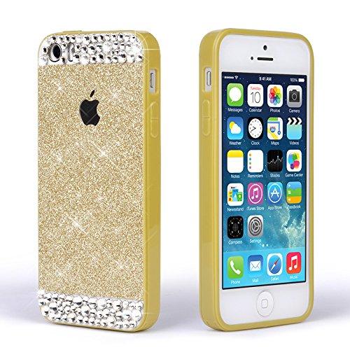 Pour Coque iPhone SE , iNenk® Mou TPU cas Paillettes paillettes Téléphone Mobile ensembles Silicone téléphone Shell luxe diamant couvercle manchon protection pour les femmes-rose Or
