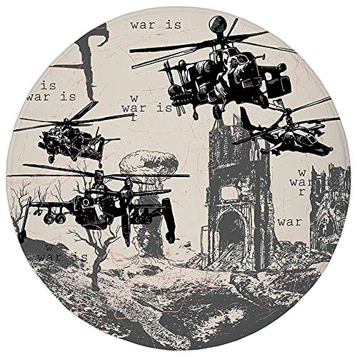 Bass-bass-inferno (Round Rug Mat Carpet,War Home Decor,A Hand Drawn Scene as Battle Atomic Bomb Explosion Helicopters City Ruin Inferno,Black,Flannel Microfiber Non-Slip Soft Absorbent,for Kitchen Floor Bathroom)