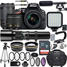 Nikon D5600 24.2 MP DSLR Camera Video Kit With AF-P 18-55mm VR Lens, AF-P 70-300mm ED VR Lens & 500mm Lens + LED Light + 32GB Memory + Filters + Macros + Deluxe Bag + Professional Accessories