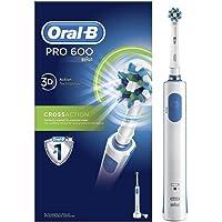 Oral-B Pro 600 Spazzolino Elettrico Ricaricabile PRO 600 CrossAction, 1 Testina di Ricambio, bianco