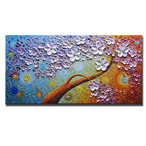 Asdam Art (100% Handgemalten 3d)bunte Blumen Öl Gemälde Auf Leinwand  Abstrakte