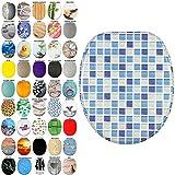 WC Sitz, viele schöne WC Sitze zur Auswahl, hochwertige und stabile Qualität aus Holz (Mosaik Blau)
